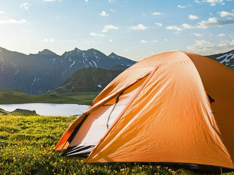 Tent in a mountain landscape