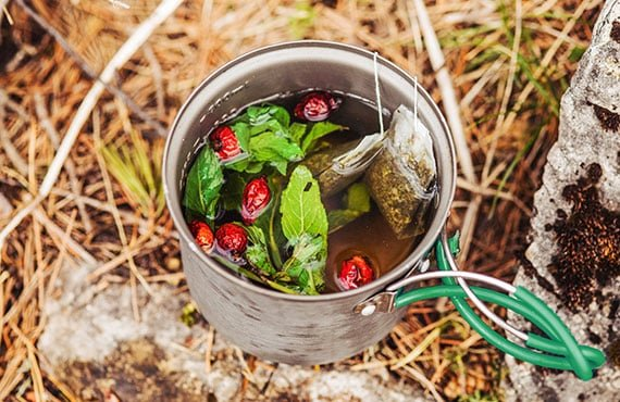 Herbal tea with wild rose berries in a camp pot