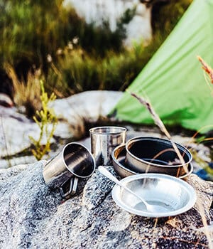 Camping cooking pots, utensils and gear