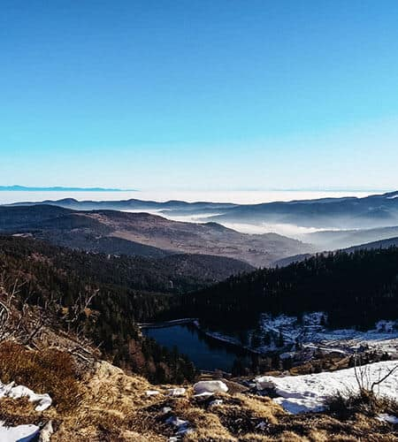Scenic view of beautiful snowy Vosges mountains