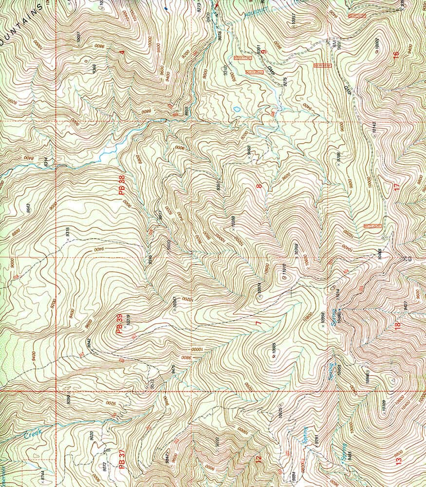 Focus on topographical map