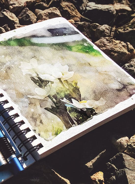 Top view of a travel sketch book