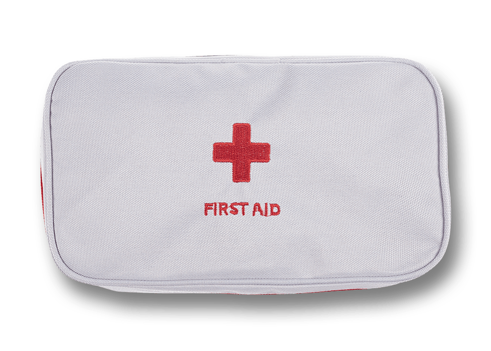 Top view of white first aid kit