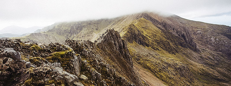 Panoramic view of the Crib Goch 'knife-edged' arête in the Snowdonia National Park in Gwynedd