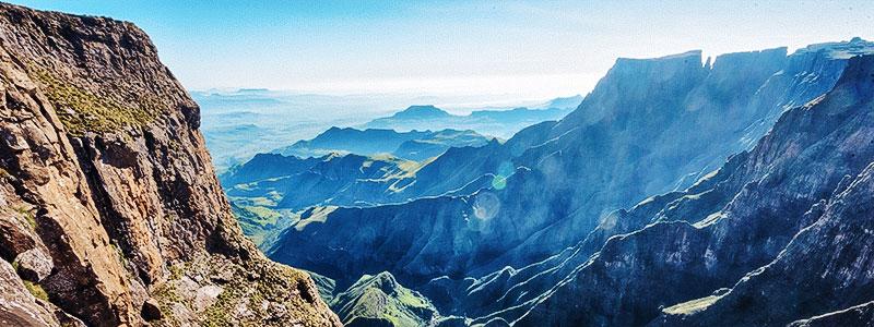 Panoramic view of the Drakensberg Grand Traverse (DGT) in the Maloti-Drakensberg park