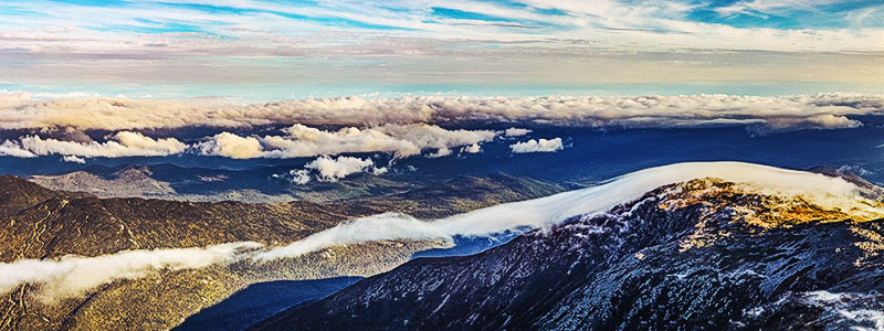 Panoramic view of Mount Washington, the highest peak in the White Mountains in New Hampshire