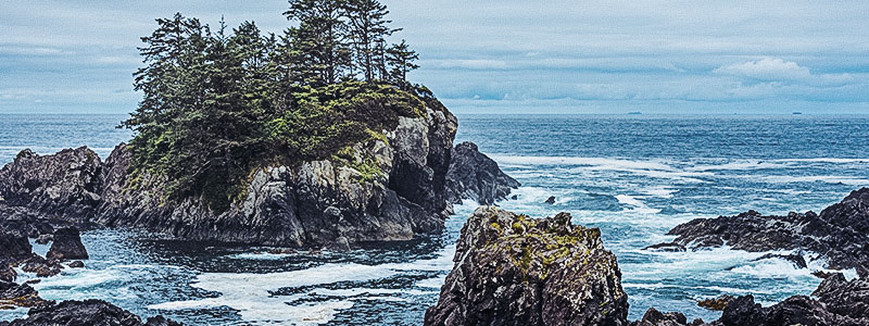 View of the West coast trail in Vancouver Island near Ucluelet British Columbia