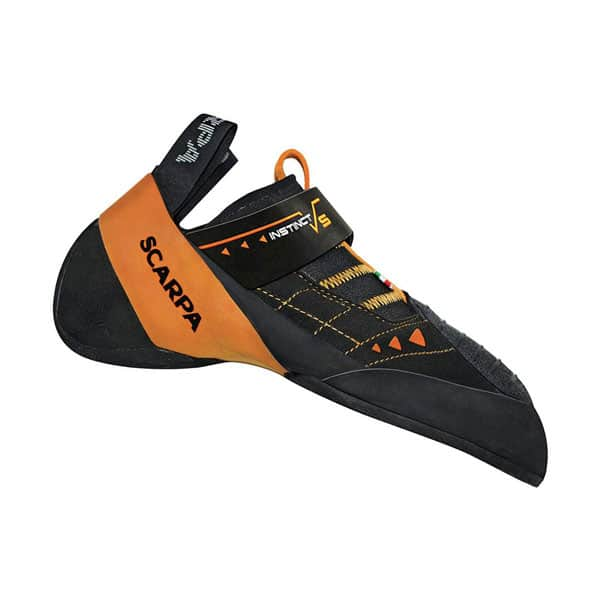 Scarpa Instinct VS climbing shoes for wide feet on white background