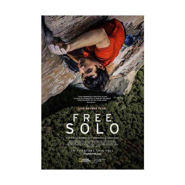 Free Solo documentary cover on white background
